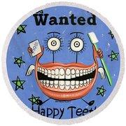 Happy Teeth Round Beach Towel