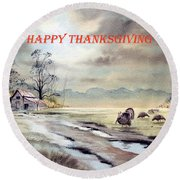 Round Beach Towel featuring the painting Happy Thanksgiving  by Bill Holkham