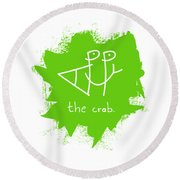 Happy The Crab - Green Round Beach Towel