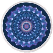 Happy To Be Blue Round Beach Towel