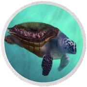 Happy Turtle Round Beach Towel