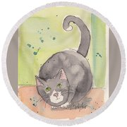 Happy Tuxedo Round Beach Towel by Terry Taylor
