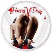 Happy Vagina Day Or Valentines Xox Round Beach Towel