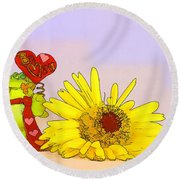 Round Beach Towel featuring the photograph Happy Valentine's Day by Teresa Zieba