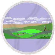 Happy Valley Farm Round Beach Towel by Fred Jinkins