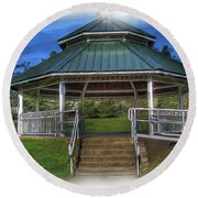 Happy Valley Gazebo Art  Round Beach Towel by Thom Zehrfeld