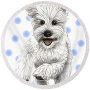 Round Beach Towel featuring the drawing Happy Blue Polka Dots Doggy by Heidi Kriel