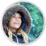 Happy Woman In Winter Park Round Beach Towel