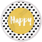 Happy Yellow And Dots Round Beach Towel
