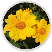 Happy Yellow Round Beach Towel