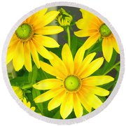 Happy Yellow Summer Cone Flowers In The Garden Round Beach Towel