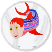 Happy Young Fish Round Beach Towel by Fred Jinkins