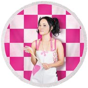 Happy Young Woman Cooking With Wooden Spoon Round Beach Towel