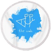 Happy The Crab - Blue Round Beach Towel
