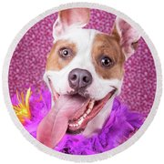 Hapy Dog Round Beach Towel