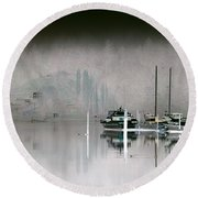 Harbor And Boats Round Beach Towel