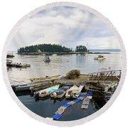 Harbor At Georgetown Five Islands, Georgetown, Maine #60550 Round Beach Towel