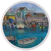 Harbor Boats Coastal Painting Of Southport North Carolina Round Beach Towel