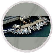 Harbor Boats Round Beach Towel