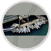 Harbor Boats Round Beach Towel