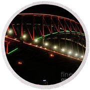 Round Beach Towel featuring the photograph Harbor Bridge Green And Red By Kaye Menner by Kaye Menner