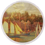 Harbor Faire Round Beach Towel