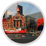 Round Beach Towel featuring the photograph Harbor Fun by Karen Harrison