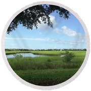 Round Beach Towel featuring the photograph Harbor Island Blue Sky by Phil Mancuso