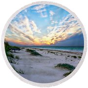 Harbor Island Sunset Round Beach Towel