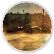 Round Beach Towel featuring the photograph Harbor Mist by Brian Wallace