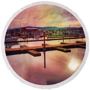 Round Beach Towel featuring the photograph Harbor Mood by Chriss Pagani