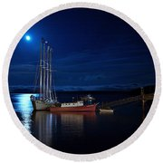 Harbor Moon Round Beach Towel