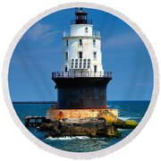 Harbor Of Refuge Lighthouse Round Beach Towel