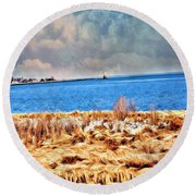 Harbor Of Tranquility Round Beach Towel