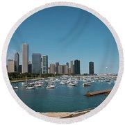 Harbor Parking In Chicago Round Beach Towel