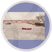 Harbor Red Round Beach Towel by JAMART Photography