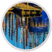 Harbor Reflections Round Beach Towel by Garry Gay