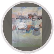 Harbor Sailboats Round Beach Towel