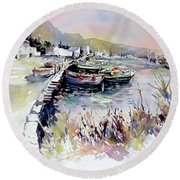 Round Beach Towel featuring the painting Harbor Shapes by Rae Andrews
