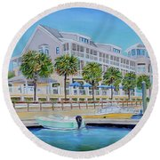 Round Beach Towel featuring the painting Harborside Marina by Shelia Kempf
