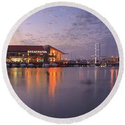 Round Beach Towel featuring the photograph Harbour Lights, Hillarys Boat Harbour by Dave Catley