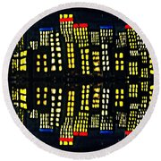 Harbour Lights Reflected 1 Round Beach Towel