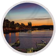 Round Beach Towel featuring the photograph Harbour Nights by Ross G Strachan