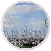 Harbour Of Enkhuizen Round Beach Towel