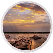 Harbour Sunsent Round Beach Towel