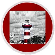 Round Beach Towel featuring the photograph Harbour Town Lighthouse by Tara Potts