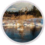 Hard Frosts And Icy Drafts Round Beach Towel