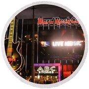 Hard Rock Cafe Las Vegas Strip At Night Round Beach Towel by RicardMN Photography