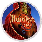 Hard Rock Hotel Guitar At Dawn Round Beach Towel