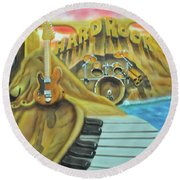 Round Beach Towel featuring the painting Hard Rock by Thomas J Herring
